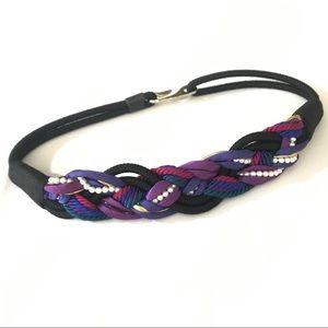 Vintage Style Black Rope & Faux Pearl Belt